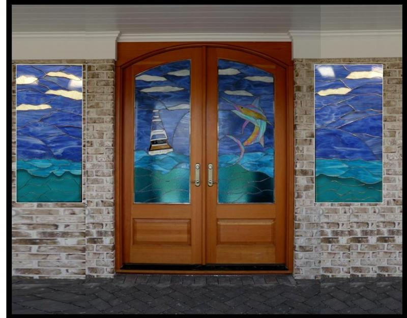 Blue Mountain Stained Glass Sidelights By Pam Mccorkhillcall 828