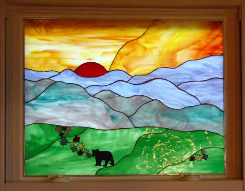 Blue Mountain Stained Glass Privacy Windowdesigns By Pam